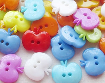 50 pcs plastic Apple Buttons 2 holes asst colors Appliques/sewing