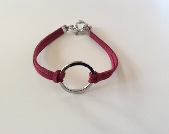 Suede and silver bracelet
