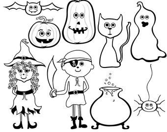 Halloween ClipArt - Photoshop Brushes - Png Digital Stamps - Scrapbooking - Instant Dowload