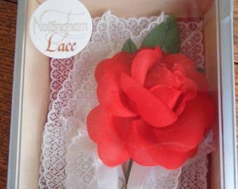 1960s boxed Nottingham Lace Handkerchiefs