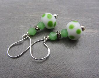 Lampwork Glass Artisan Earrings White with Green Polka Dots Crystals Sterling Silver Glass Bead Earrings Dangle Drop Handmade Earrings SRAJD