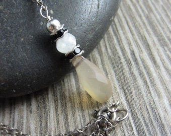 Peach Drop Necklace - Peach Chalcedony with Moonstone and Black Swarovski in Sterling Silver