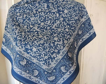 vintage 1980s soft polyester scarf blue floral with deers  28 x 30 inches