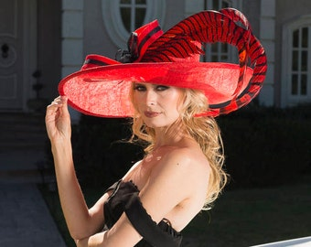 2018 collection. Designer hat. Red hat. Kentucky Derby hat. Derby hat. Royal Ascot hat. Fashion hat. Couture red hat. Fashion hat