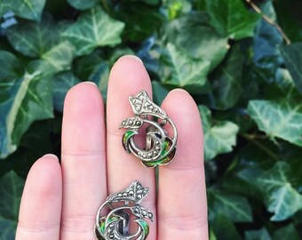 Clip earrings enameled Art Nouveau silver - Circa 1920 / / / Art Nouveau silver enameled earrings - Circa 1920