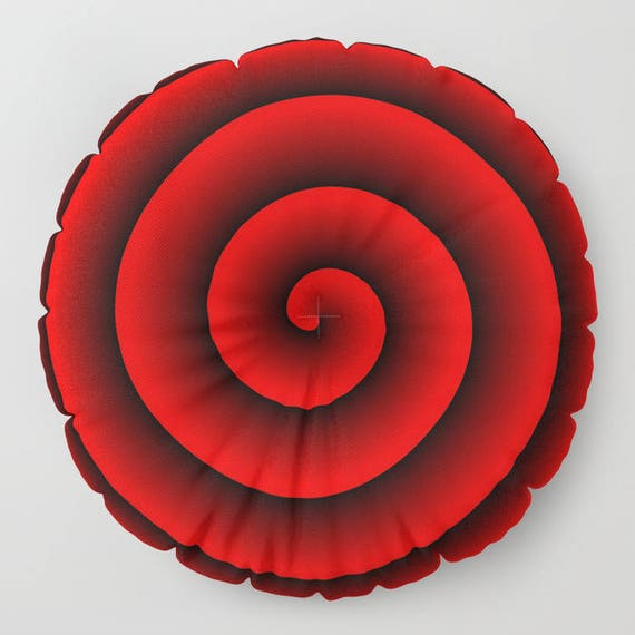 """Red and Black Spiral 2 Round Pillow, 26"""" and 30"""", Floor Cushion, Eye Candy, Dorm, Teen Decor,  Office, Home Statement Piece, Dreamy, Trend"""