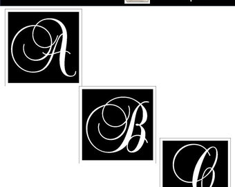 MONOGRAM ALPHABET Clipart for Commercial Use Wedding Monogram Fancy Black Digital Font Png