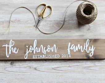 Gift for Parents Wedding, Gift for Newlyweds, Christmas Gift, Gift for Couple, Gift for Mother, Family Name Sign, Family Established Sign