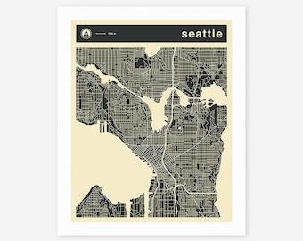 SEATTLE MAP (Giclée Fine Art Print/Photo Print/Poster Print)