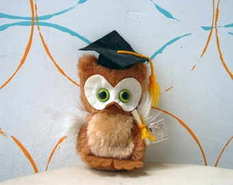Vintage Graduation Wise Owl Stuffed Animal FREE SHIPPING