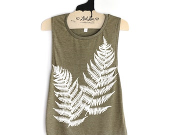 Small- Triblend Olive Muscle Tank with Fern Leaves Screen Print