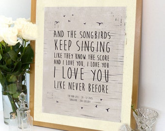 1st anniversary song ~ Songbird custom poem print wedding anniversary song lyrics