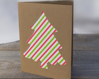 CLEARANCE - 75% OFF - Green & Red Striped Christmas Tree Handmade Greeting Card, Holiday Card, Christmas Card