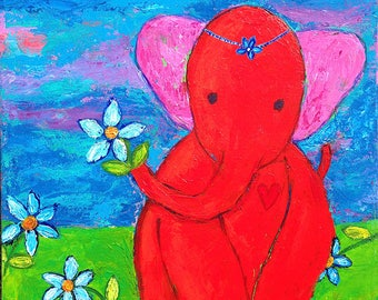 Red Elephant 8x10 Print by Elizabeth Claire