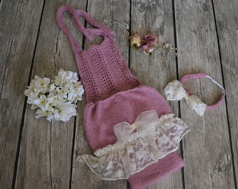 Girls sitter romper 6-12m hand knitted lace trim photography prop