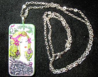 Altered Art DOMINO EMBELLISHED PENDANT -Alcohol Ink Painted Lady  with Silver Chain