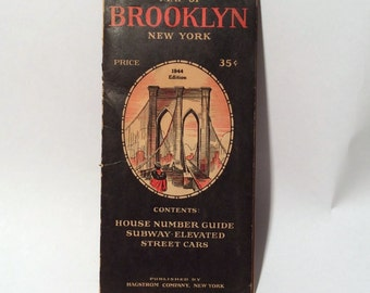 Vintage 1944 Hagstrom Brooklyn, NY Foldout Roadmap, Frameworthy, Art, Awesome