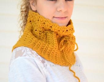 Crochet Citrine Neck Warmer, Citrine Scarf, Yellow Scarf, Chunky Cowl, Crochet , Gift For Her
