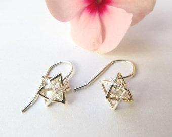 3D Magen david earrings, silver star earrings, merkaba earrings, star of david earrings, 3D star earrings, kabbalah jewelry