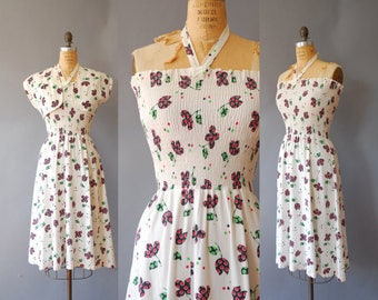 10% discount from 60 to 54 dollars. 1940s Halter Dress// Spotty Bolero and Dress