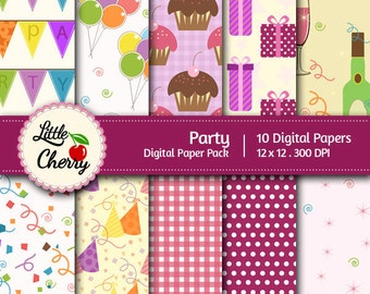 Party- 10 printable Digital Scrapbooking papers - 12 x12 - 300 DPI