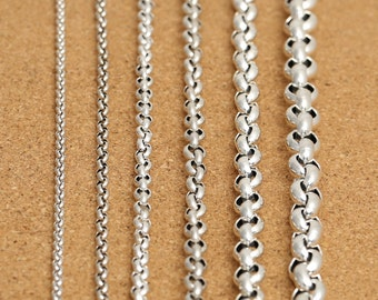 """Sterling Silver Rolo Chain, Sterling Belcher Chain, Rolo Necklace Chain 3.5mm 4mm 5mm 6mm 8mm 10mm 18 20 22 24 26 28 30 32 34 36 38"""" - FY403"""