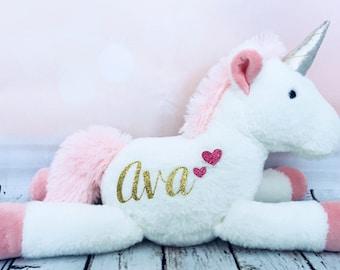 Personalized Unicorn Plush for Baby Girl, Unicorn Stuffed Animal, Flower Girl Gift, Newborn Gift, First Birthday Gift, Birthday Present