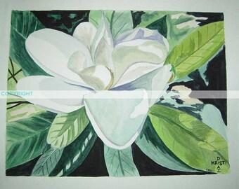 Louisiana Magnolia II   Original Watercolor Painting   11 X 14 Signed   southern flower botanical still life white   Louisiana Mississippi