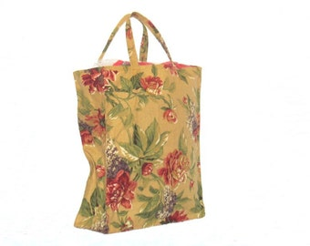 Shopping Bag, Tote Bag, Canvas,  Reusable, Gold Floral