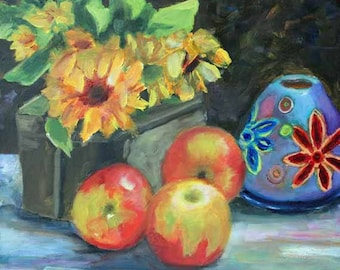 Apples Sunflowers Oil on Canvas Original Painting Pottery Flower Fine Art Giclee Prints Magnet Carol Lytle Lytlebitartisic FREE SHIPPING #75