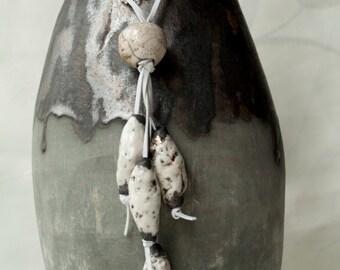 Ceramic necklace, ceramic pendant, raku ceramic, raku necklace, raku pendant, white, black, OOAK
