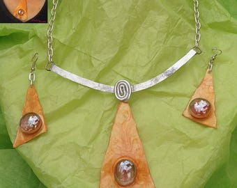 Set necklace and earrings abicot and silver