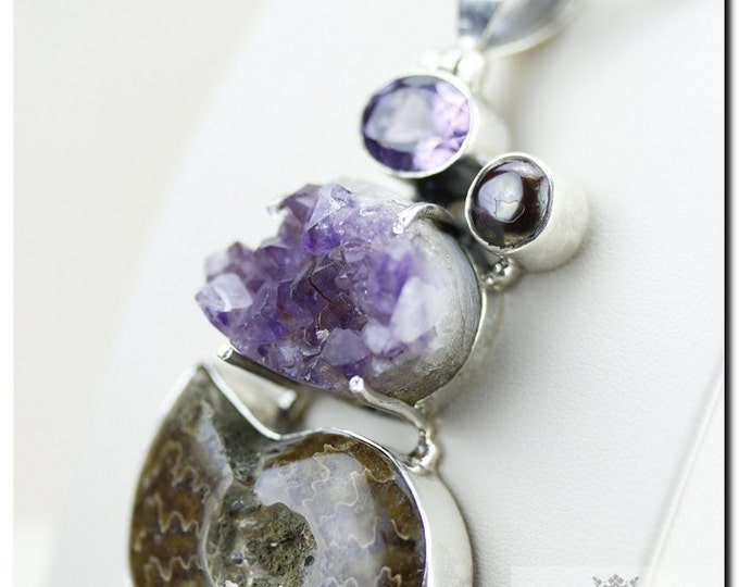 3.4 Inch AMMONITE Fossil Amethyst Abalone Pearl Cluster Amethyst 925 SOLID Sterling Silver Pendant + 4mm Chain & FREE Worldwide Shipping P3