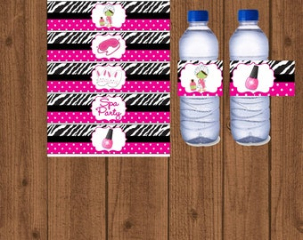 Spa Water / Spa / Water Bottle Labels / Spa Party / Spa Party Printable / Spa Zebra / Spa Water Bottle / Spa Water Wrap / Instant Download