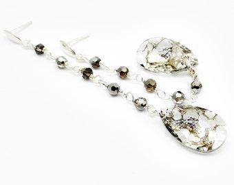 Long Earrings, Fashion Evening Jewelry, Black Gold Crystal Earrings, Swarovski Sterling Silver Dangle Post, Modern Minimalist Earrings Post
