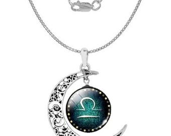 Libra 925 Silver Crescent Moon Necklace