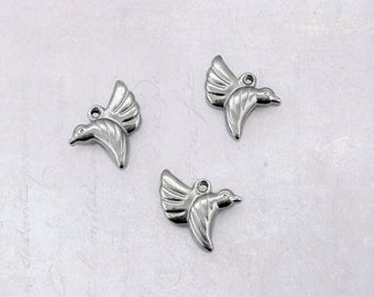 5 x Small Stainless Steel Hummingbird Charms - Double Sided Dark Silver Tone