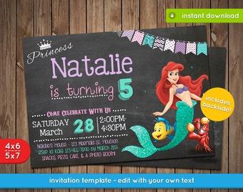Little Mermaid Invitation - Printable birthday party invite - INSTANT PDF DOWNLOAD