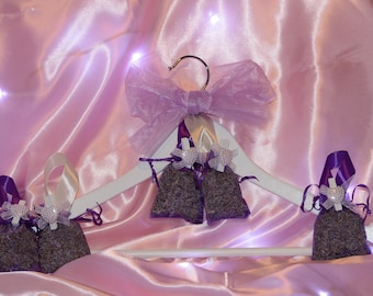 White Wooden Coat Hanger with Five Lavender Organza Bags