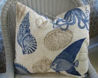 SALE  Indoor Outdoor Fish Sealife Pillow Cover 18x18
