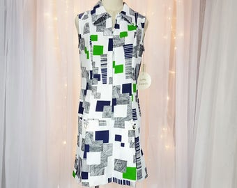 Vintage - Sleeveless Drop Waist Culotte Romper - By Norwin Miss - Navy, Black, & Lime Pattern - 60s/70s - Tagged  Never Worn - New Old Stock