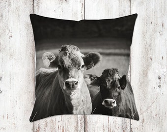 Jersey Cow Decorative Pillow - Throw Pillows - Farmhouse Decor - Black & White Decor - Gifts - Rustic - Cow Decor - Cows - Country Decor