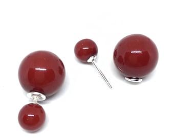 """Tribal"" earrings. Red. Silver 925/1000 silver post."