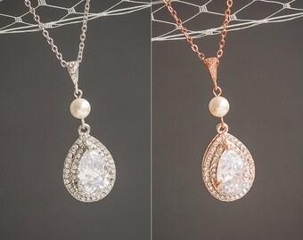 Pearl Bridal Necklace, Crystal Wedding Necklace, Rose Gold Teardrop Pendant Necklace, Sterling Silver Necklace, Swarovski Jewelry,ADAMIA