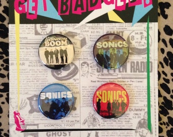 The Sonics 1 inch badge set of four