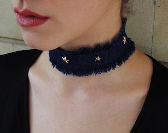 Choker, Denim choker necklace, Denim jewelry, Choker necklace, Denim necklace, Chokers, Blue choker, Distressed denim, Kim k choker, Denim