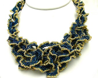 Blue and Gold Beaded Ruffle Necklace