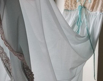 Claire Sandra by LUCIE ANN Beverly Hills Pale Blue Nylon Nightgown