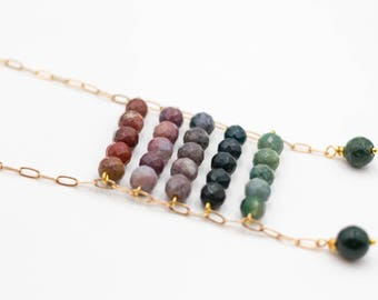 Women's necklace with Indian agates and brown and green tourmalines