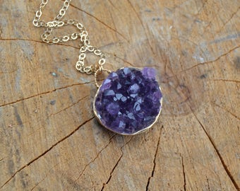 Druzy Amethyst Necklace // Gold Fill // Sobriety Stone // Bubble of Light //Spiritual Protection // Surrender // Divine Connection